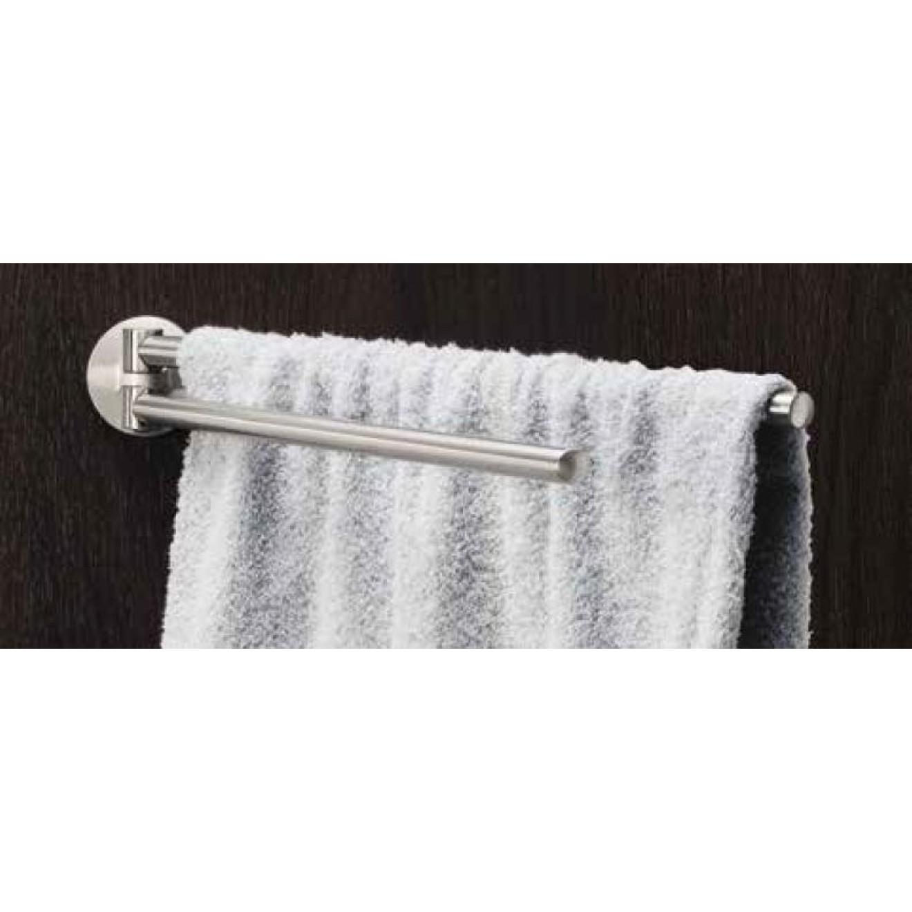 handtuchhalter 2 armig schwenkbar 47 cm edelstahl geb rstet rosette rund treffpunkt bad der. Black Bedroom Furniture Sets. Home Design Ideas