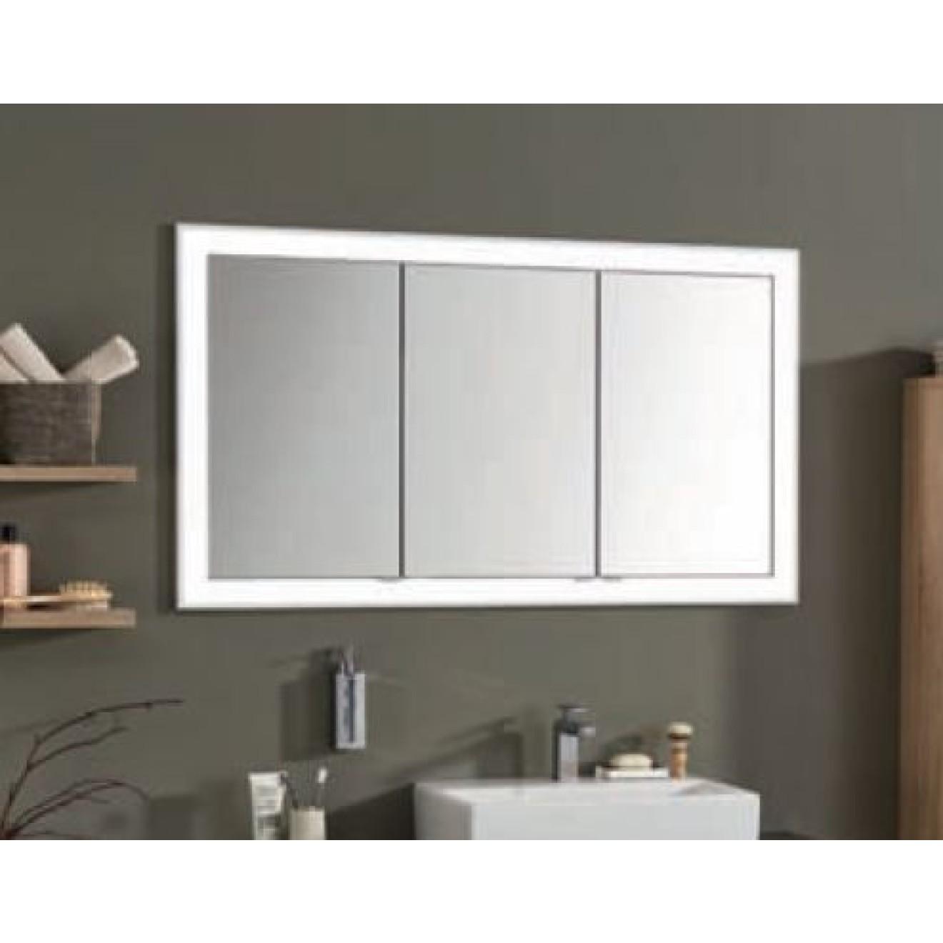 Einbau-Spiegelschrank 152 cm 3-türig mit LED Leuchtkranz ...