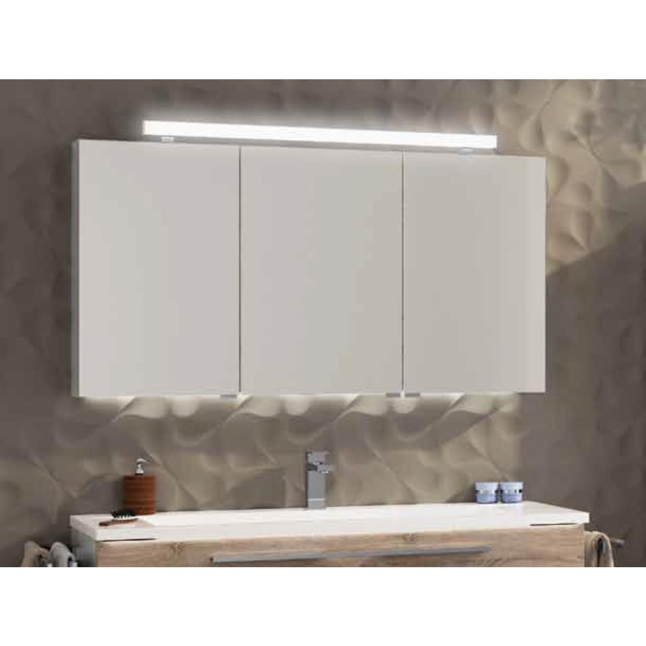 Top 2D Spiegelschrank 120 cm 3-türig mit LED-Aufbauleuchte, Treffpunkt  IN37