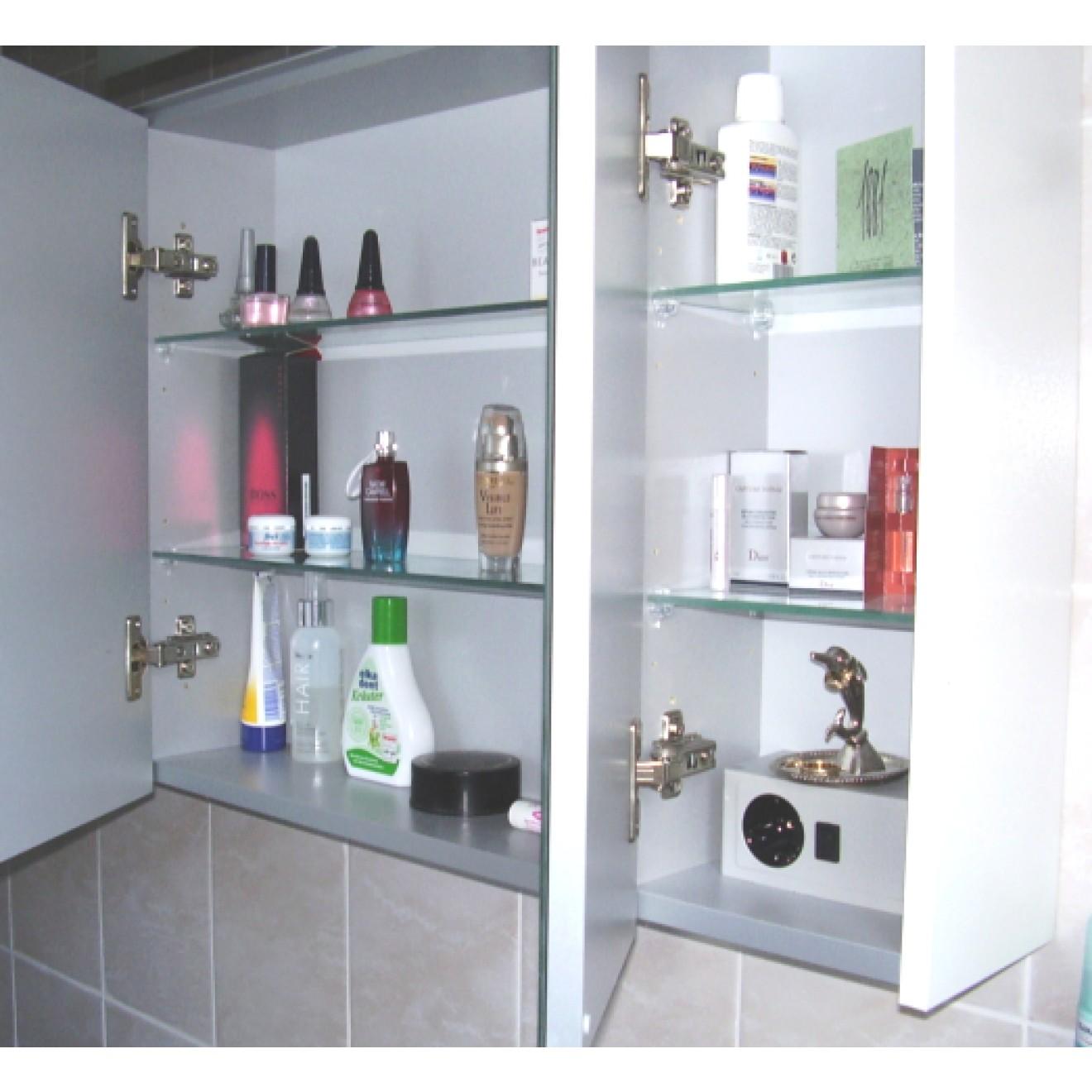 2d spiegelschrank 70 cm 3 t rig mit gesimsboden mit led beleuchtung treffpunkt bad der shop. Black Bedroom Furniture Sets. Home Design Ideas